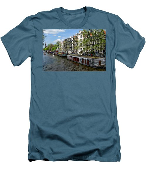 Amsterdam Canal Men's T-Shirt (Slim Fit) by Anthony Dezenzio