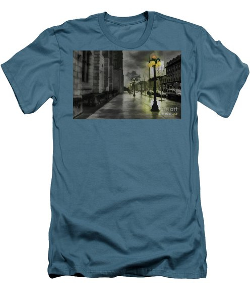Men's T-Shirt (Slim Fit) featuring the mixed media An Evening In Paris by Jim  Hatch