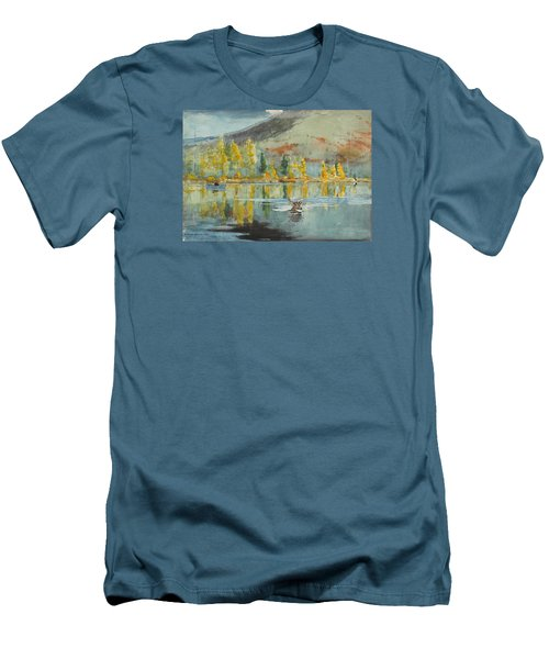 Men's T-Shirt (Slim Fit) featuring the painting An October Day by Winslow Homer