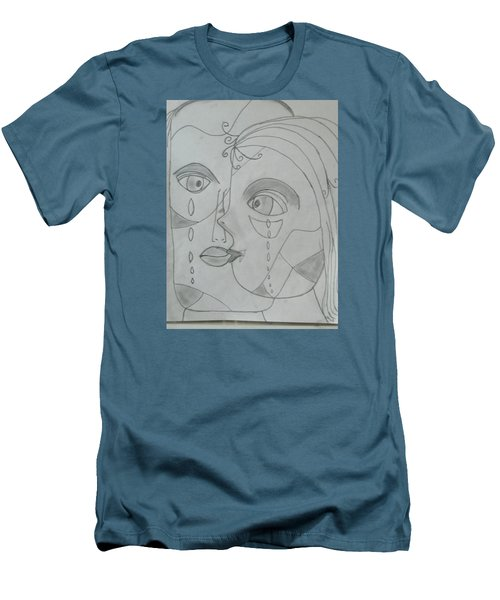 Men's T-Shirt (Slim Fit) featuring the drawing And Then They Parted by Sharyn Winters