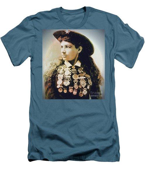 Annie Oakley - Shooting Legend Men's T-Shirt (Slim Fit) by Ian Gledhill