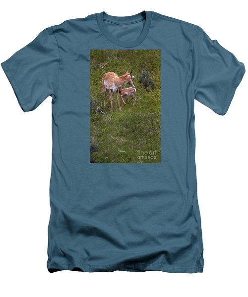 Antelope And Baby-signed-#3576 Men's T-Shirt (Athletic Fit)