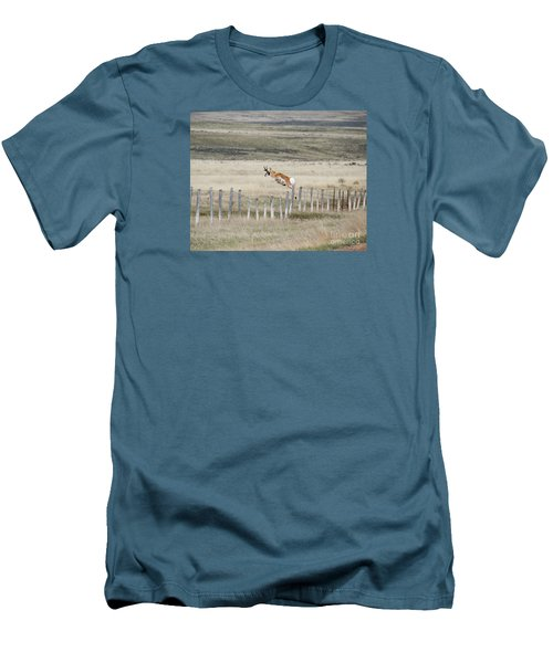 Men's T-Shirt (Slim Fit) featuring the photograph Antelope Jumping Fence 2 by Rebecca Margraf