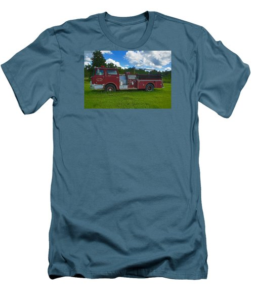Antique Fire Truck Men's T-Shirt (Slim Fit) by Ronald Olivier