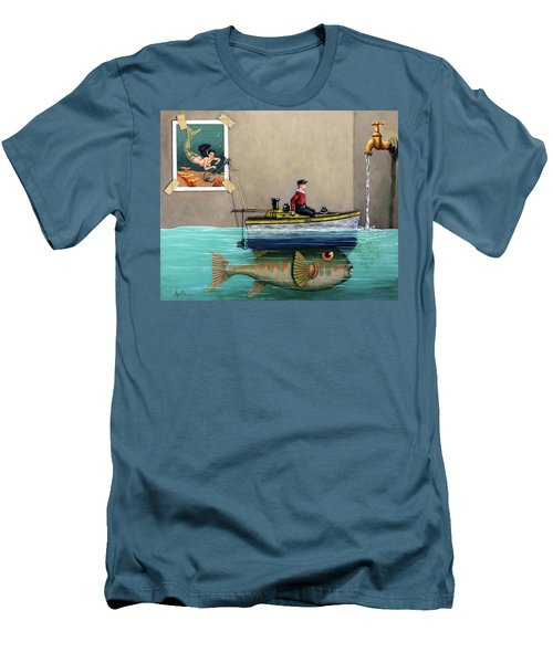 Anyfin Is Possible - Fisherman Toy Boat And Mermaid Still Life Painting Men's T-Shirt (Slim Fit) by Linda Apple