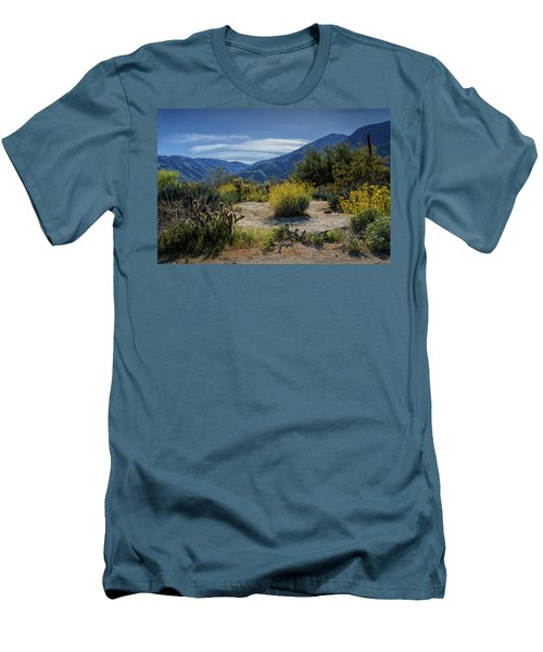 Men's T-Shirt (Slim Fit) featuring the photograph Anza-borrego Desert State Park Desert Flowers by Randall Nyhof