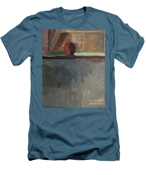 Men's T-Shirt (Slim Fit) featuring the painting Apple On A Sill by Daun Soden-Greene