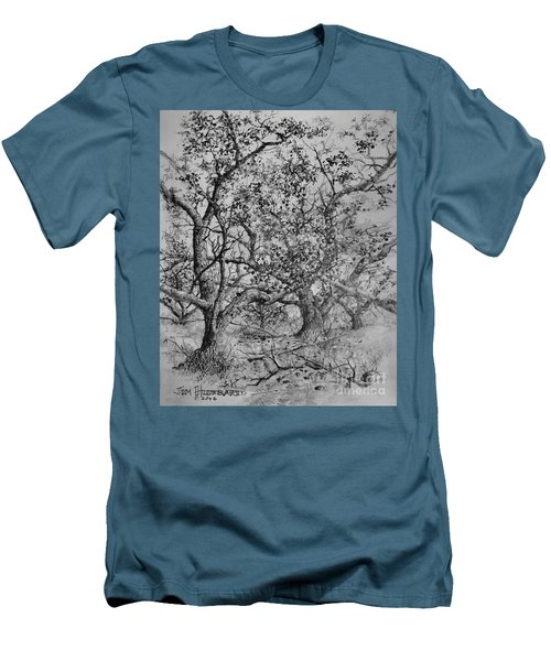 Men's T-Shirt (Slim Fit) featuring the drawing Apple Orchard by Jim Hubbard
