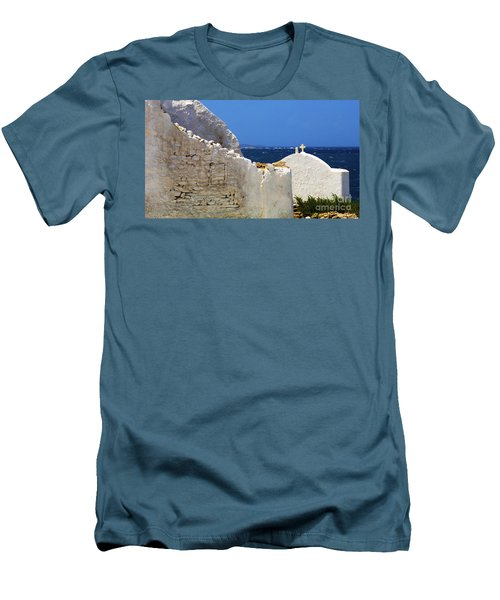 Men's T-Shirt (Slim Fit) featuring the photograph Architecture Mykonos Greece 2 by Bob Christopher