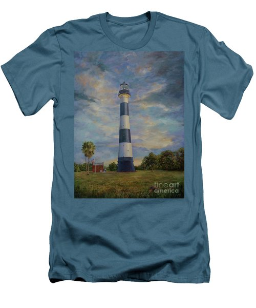 Men's T-Shirt (Slim Fit) featuring the painting Armadillo And Lighthouse by AnnaJo Vahle