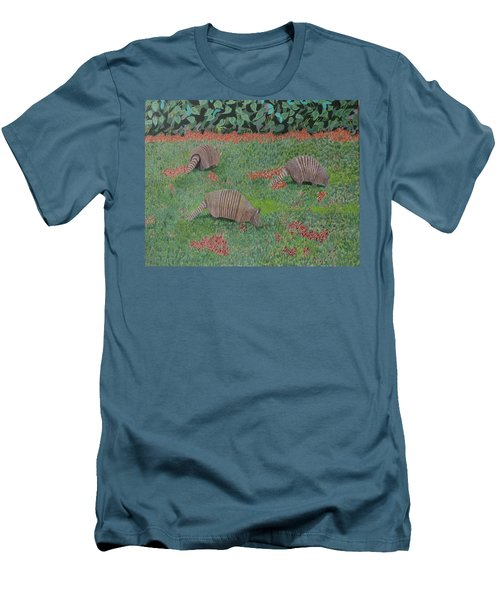Armadillos In The Yard Men's T-Shirt (Slim Fit) by Hilda and Jose Garrancho