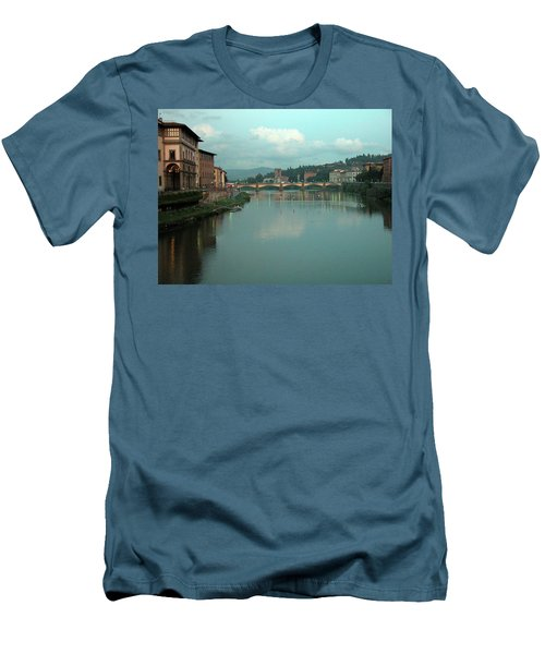 Men's T-Shirt (Slim Fit) featuring the photograph Arno River, Florence, Italy by Mark Czerniec