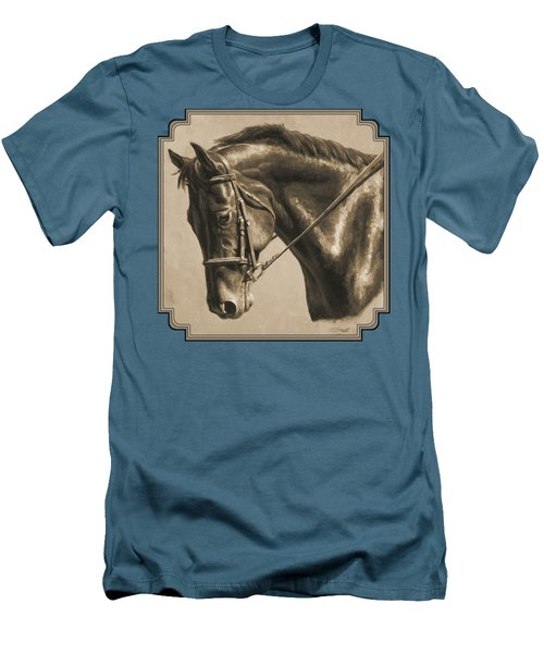 Horse Painting - Focus In Sepia Men's T-Shirt (Slim Fit) by Crista Forest