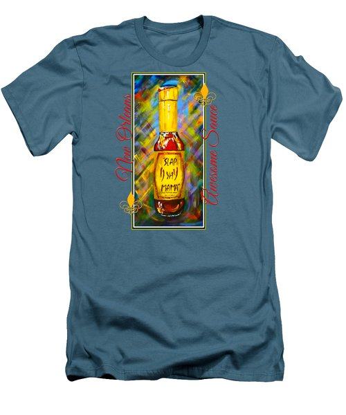 Men's T-Shirt (Slim Fit) featuring the painting Awesome Sauce - Slap Ya Mama by Dianne Parks