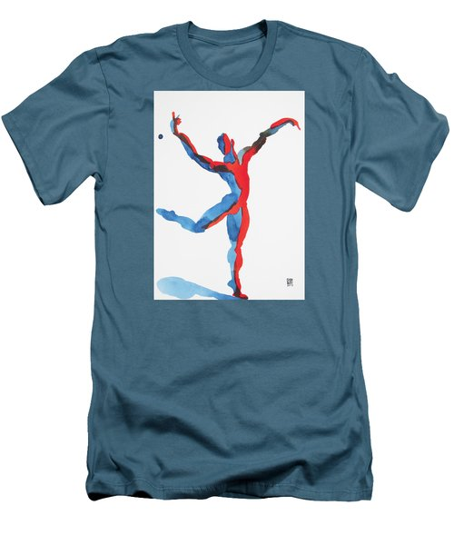 Men's T-Shirt (Slim Fit) featuring the painting Ballet Dancer 3 Gesturing by Shungaboy X
