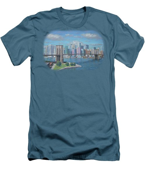 New York Brooklyn Bridge Men's T-Shirt (Slim Fit) by Renato Maltasic