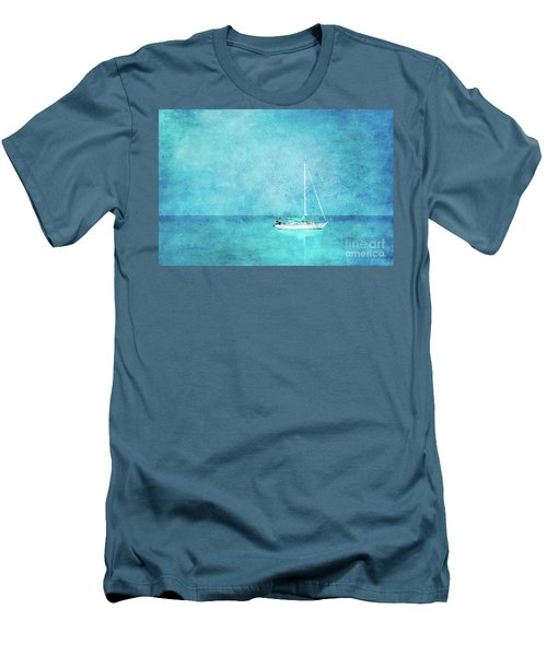 Men's T-Shirt (Slim Fit) featuring the mixed media At Anchor by Betty LaRue