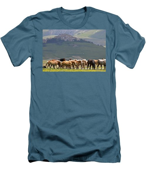 Men's T-Shirt (Slim Fit) featuring the photograph Castelluccio Di Norcia, Parko Nazionale Dei Monti Sibillini, Italy by Dubi Roman
