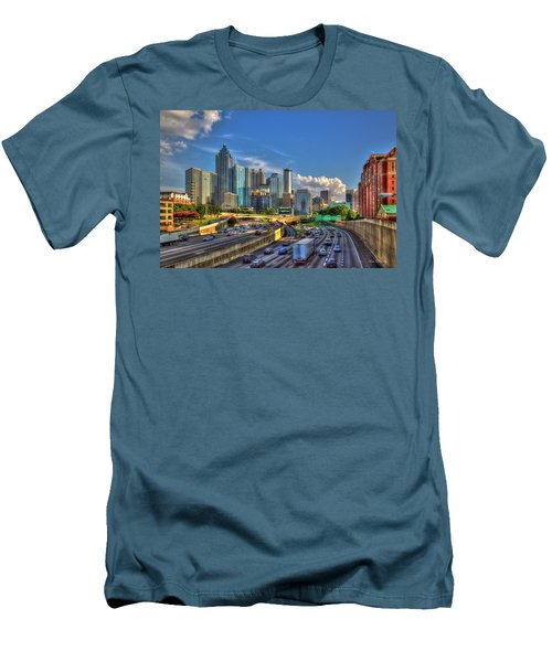 Men's T-Shirt (Athletic Fit) featuring the photograph Atlanta The Capital Of The South Cityscapes Sunset Reflections Art by Reid Callaway