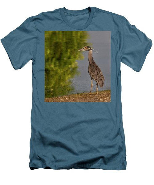 Men's T-Shirt (Slim Fit) featuring the photograph Attentive Heron by Jean Noren