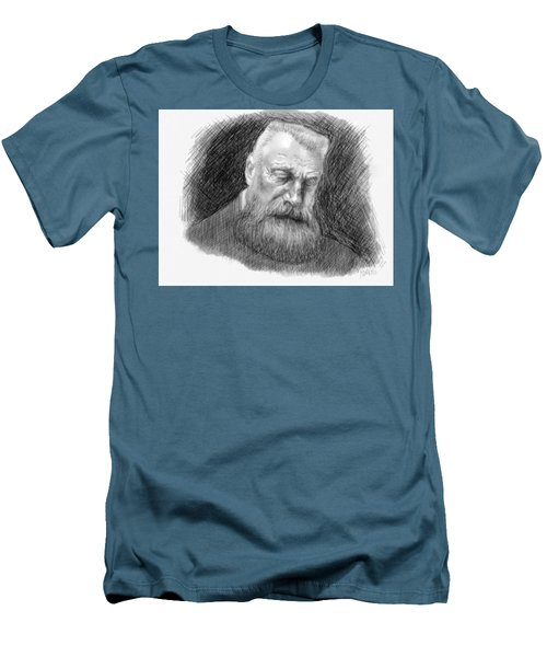 Men's T-Shirt (Slim Fit) featuring the drawing Auguste Rodin by Antonio Romero