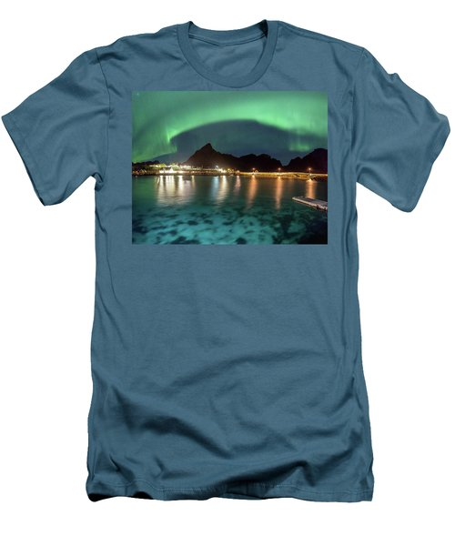 Aurora Above Turquoise Waters Men's T-Shirt (Slim Fit) by Alex Conu