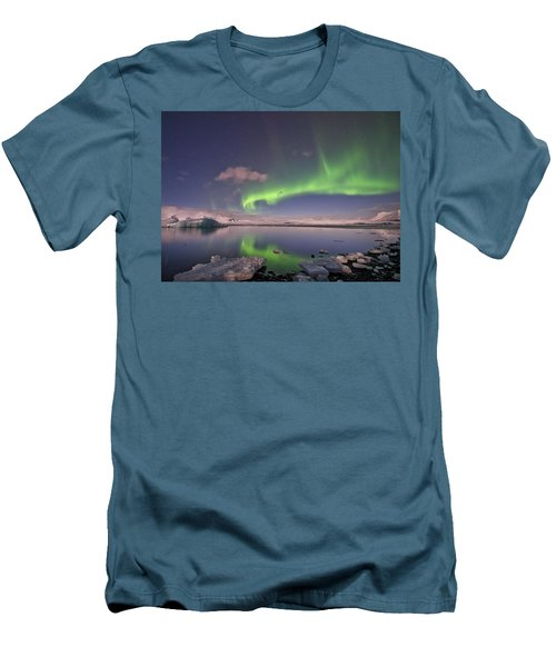 Men's T-Shirt (Slim Fit) featuring the photograph Aurora Borealis And Reflection #2 by Wanda Krack