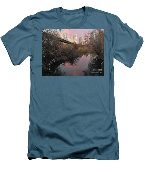 Austin Hike And Bike Trail - Train Trestle 1 Sunset Triptych Right Men's T-Shirt (Athletic Fit)