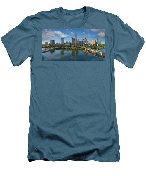 Austin Skyline Panorama Spring Afternoon 7-1 Men's T-Shirt (Slim Fit) by Rob Greebon