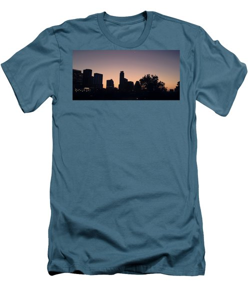Austin Skyline Sunrise Into A Crescent Moon Panorma Men's T-Shirt (Athletic Fit)