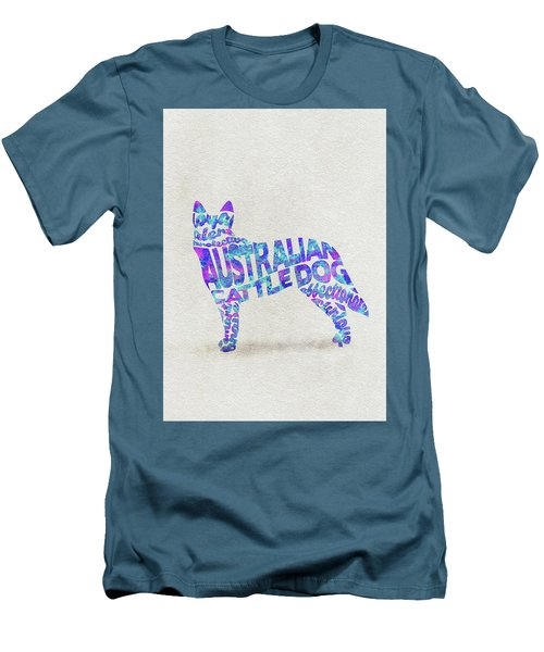 Men's T-Shirt (Athletic Fit) featuring the painting Australian Cattle Dog Watercolor Painting / Typographic Art by Ayse and Deniz
