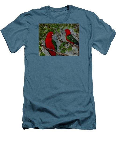 Men's T-Shirt (Slim Fit) featuring the painting Australian King Parrot by Renate Voigt