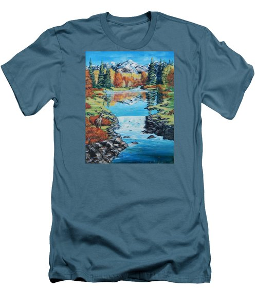 Autum Stag Men's T-Shirt (Slim Fit) by Ruanna Sion Shadd a'Dann'l Yoder