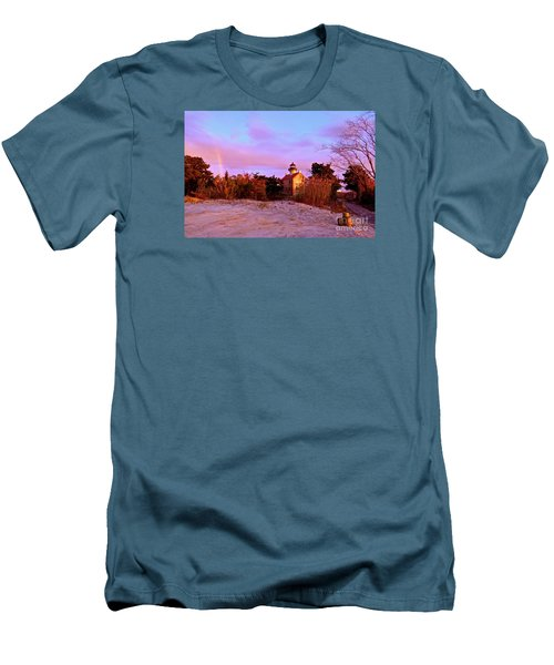 Autumn At East Point Lighthouse Men's T-Shirt (Slim Fit) by Nancy Patterson