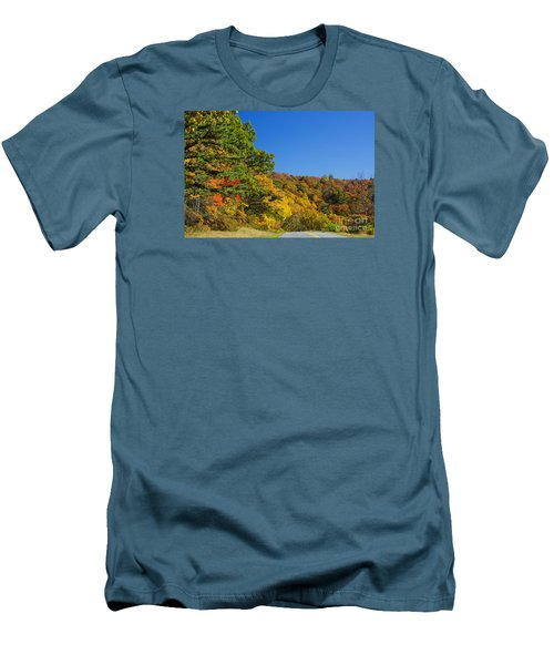 Autumn Country Roads Blue Ridge Parkway Men's T-Shirt (Slim Fit) by Nature Scapes Fine Art