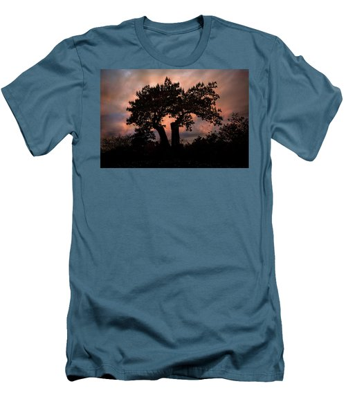 Men's T-Shirt (Athletic Fit) featuring the photograph Autumn Evening Sunset Silhouette by Chris Lord
