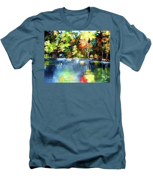 Autumn In Loon Country Men's T-Shirt (Slim Fit) by Al Brown