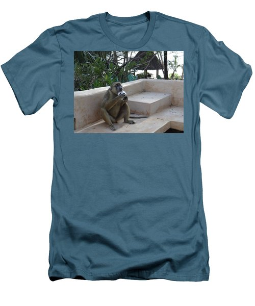 Baboon With A Sweet Tooth Men's T-Shirt (Slim Fit) by Exploramum Exploramum