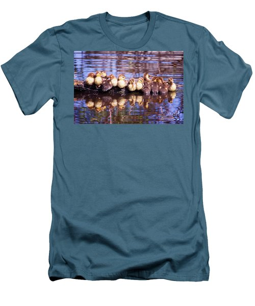 Baby Ducks On A Log Men's T-Shirt (Slim Fit) by Stephanie Hayes