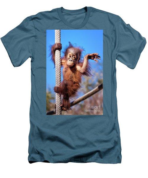 Baby Orangutan Climbing Men's T-Shirt (Athletic Fit)