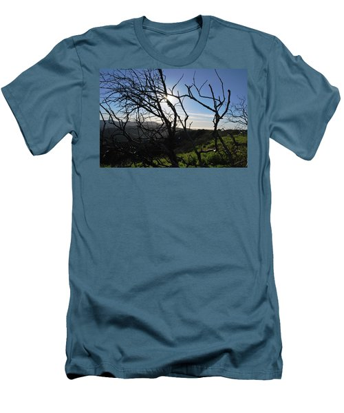 Men's T-Shirt (Athletic Fit) featuring the photograph Backlit Trees Overlooking Hillside by Matt Harang