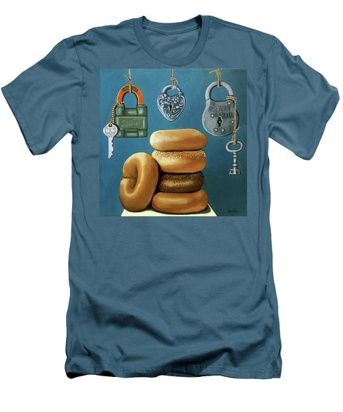 Men's T-Shirt (Slim Fit) featuring the painting Bagels And Locks by Linda Apple
