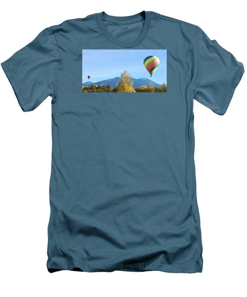 Men's T-Shirt (Slim Fit) featuring the photograph Ballons At Taos Mountain by Brenda Pressnall
