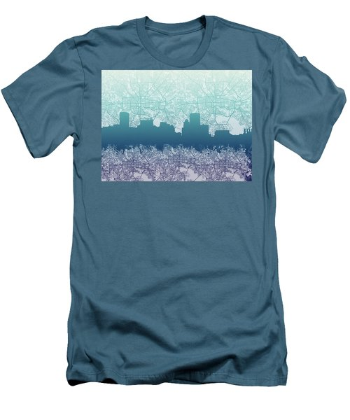 Men's T-Shirt (Slim Fit) featuring the painting Baltimore City Skyline Map 2 by Bekim Art
