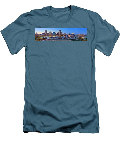 Baltimore Skyline Inner Harbor Panorama At Dusk Men's T-Shirt (Athletic Fit)
