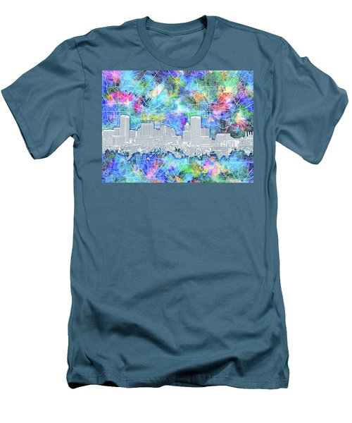 Men's T-Shirt (Slim Fit) featuring the painting Baltimore Skyline Watercolor 14 by Bekim Art