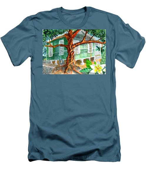 Men's T-Shirt (Slim Fit) featuring the painting Banyan In The Backyard by Eric Samuelson