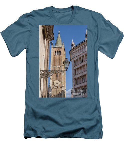 Baptistery And Cathedral In Parma Men's T-Shirt (Slim Fit) by Patricia Hofmeester