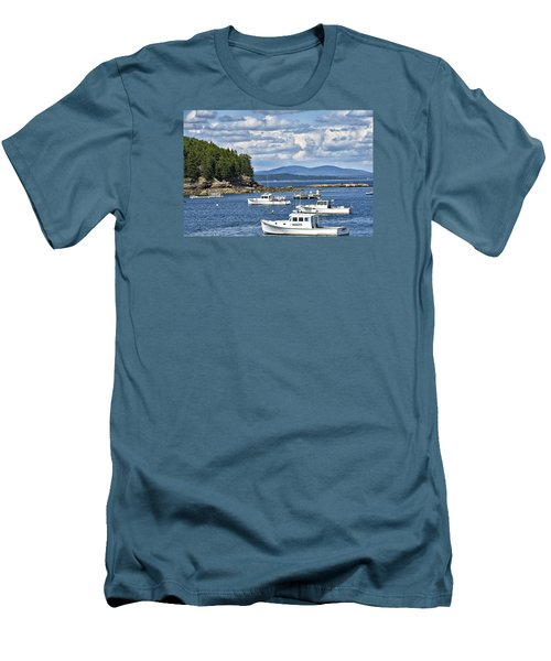 Bar Harbor Lobster Boats - Frenchman Bay Men's T-Shirt (Slim Fit) by Brendan Reals