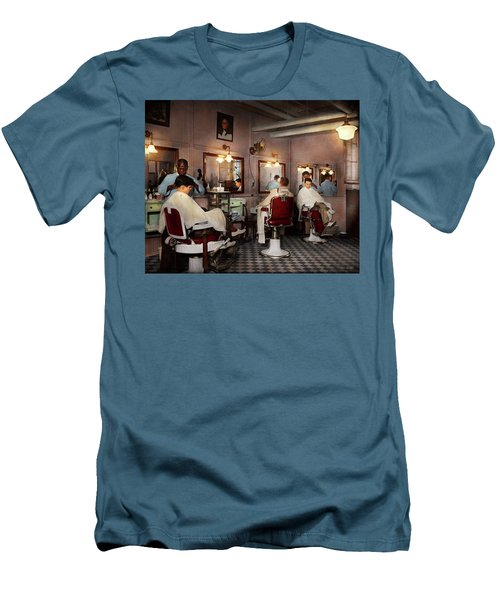 Men's T-Shirt (Slim Fit) featuring the photograph Barber - Senators-only Barbershop 1937 by Mike Savad